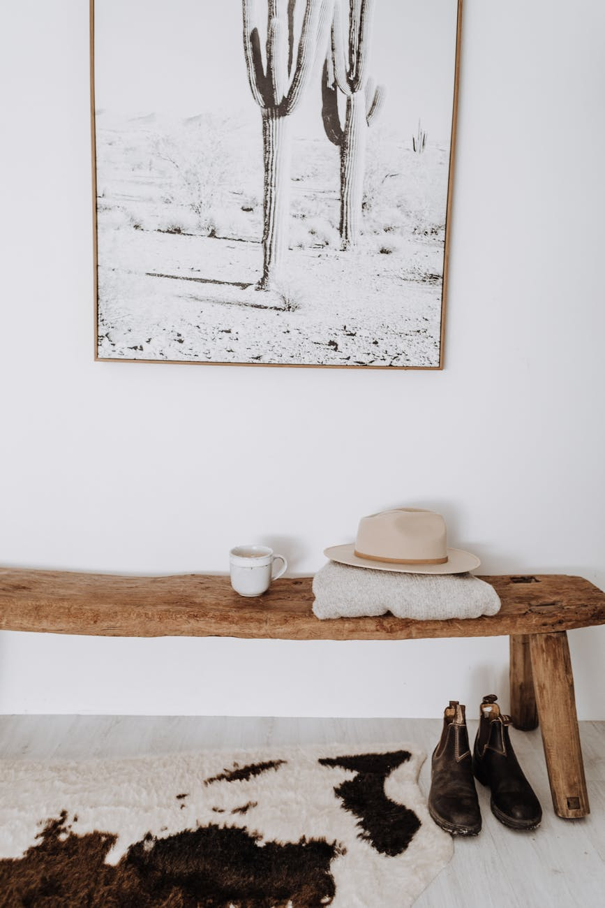 interior of light room with wooden bench
